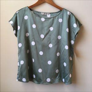 NWT Zara silky polka dot blouse